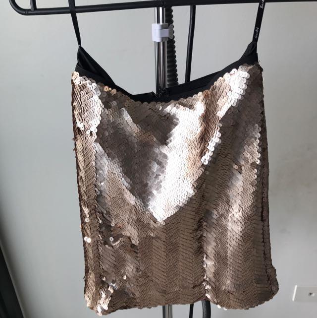 Bardot Gold Sequins Mini Skirt