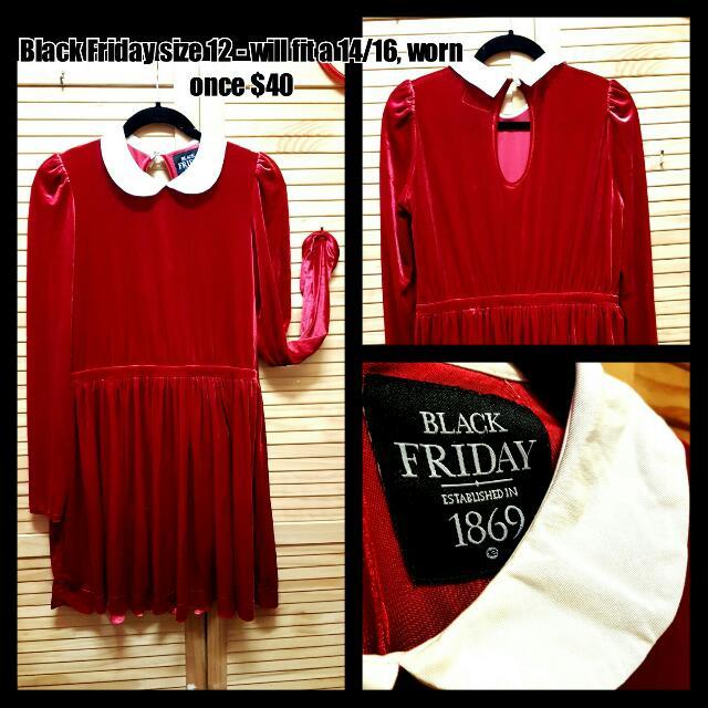 Black Friday/Dangerfield Sz 12 Red Velvet Dress