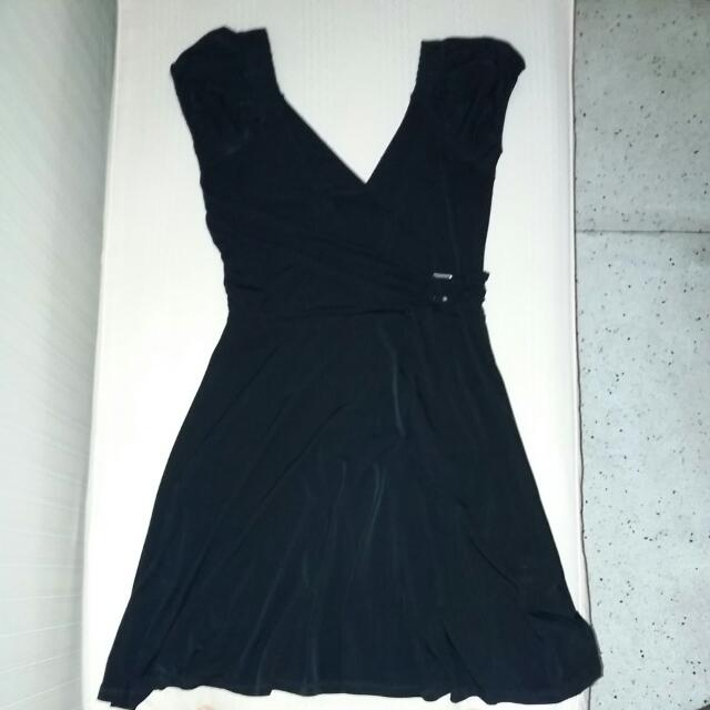 Black Overlap Jersey Dress
