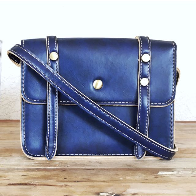 Blue Purse Bag with Strap