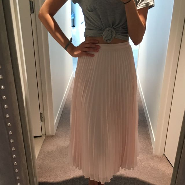 Blush Pink Pleated Skirt 6