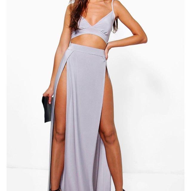 Boohoo Bralette & Maxi Skirt Set