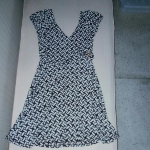 Brown & White Overlap Jersey Dress