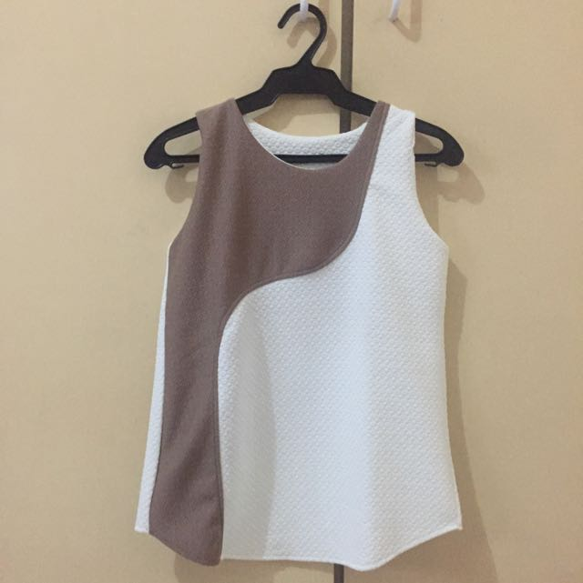 Brown & White Top