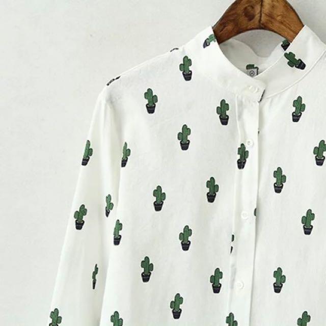 3cbc3727 Cactus button down top shirt Korean, Women's Fashion, Clothes, Tops ...