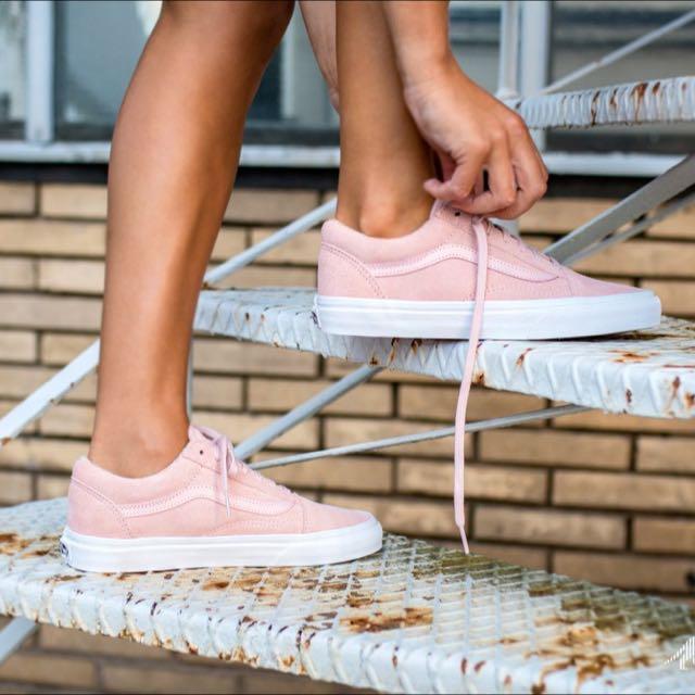 c84b701f526 CHEAPEST  suede woven old skool sneakers in peachskin truewhite vans ...