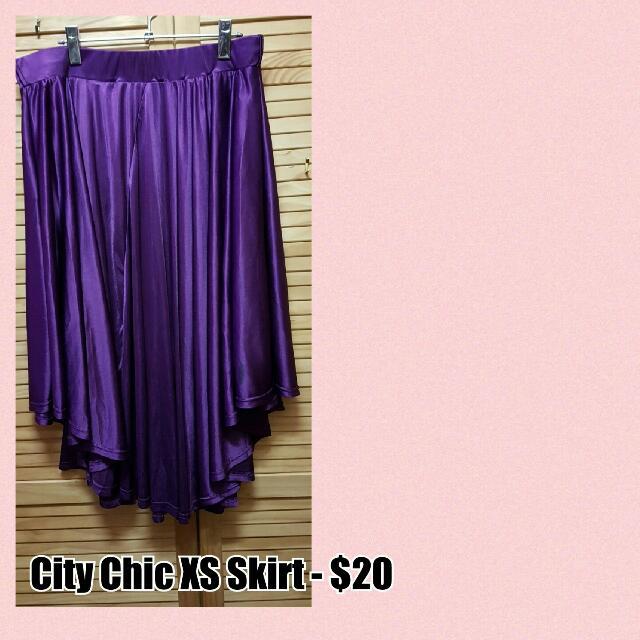 City Chic Purple Elasticated Skirt XS