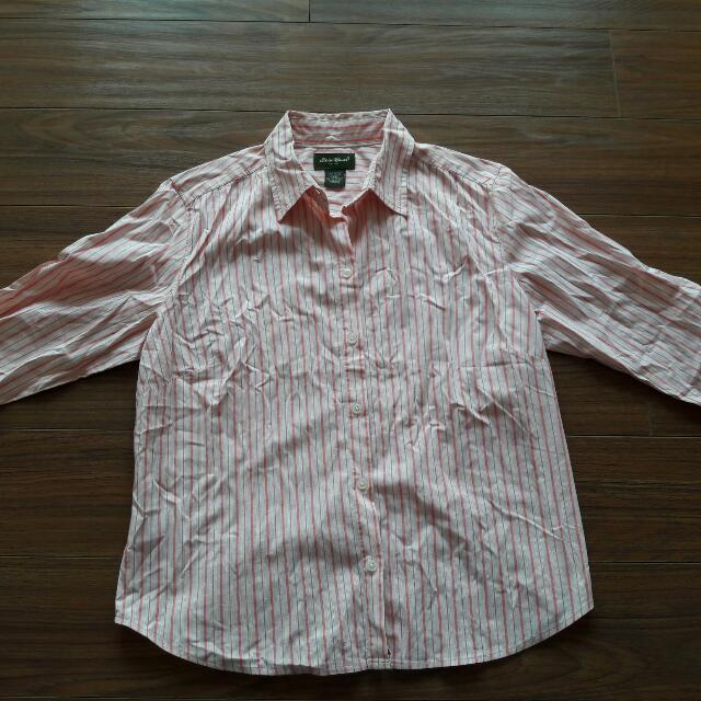Eddie Bauer Light Pink Stripes Polo (Used)