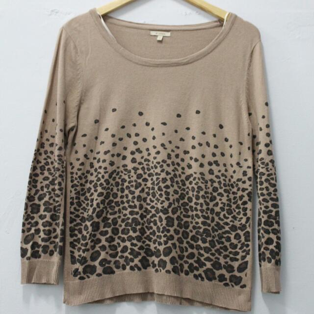 Et Cetera Leopard Brown Knit Sweatshirt