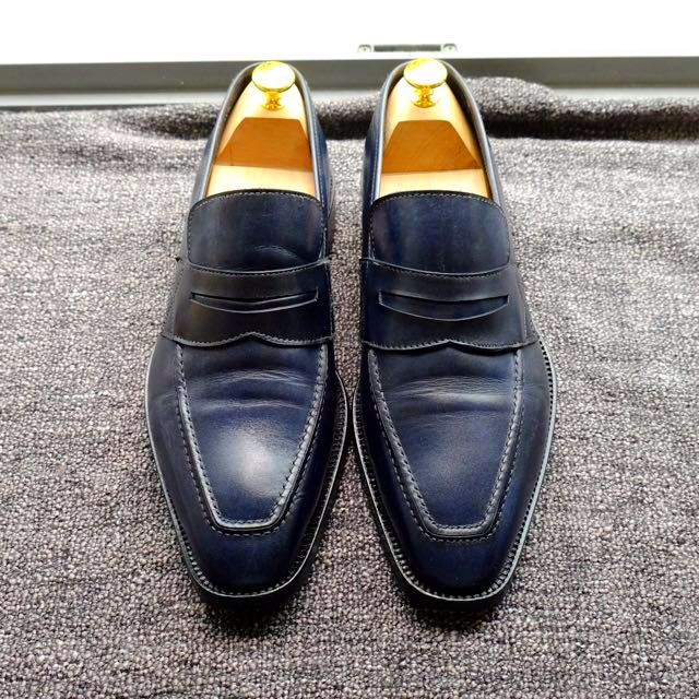 d0cd790577a Florence Penny Loafers Shoes UK7 EUR 41 US 8 Dark Navy Blue Patina ...
