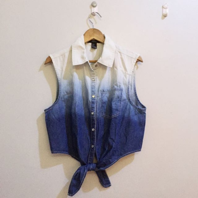 FOREVER 21 Ombre Denim Self-tie Top