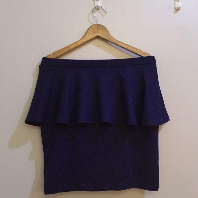 FOREVER 21 Navy Blue Peplum Skirt