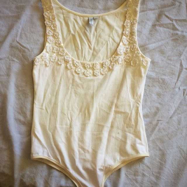 Forever New Cream Leotard With Sequence Detailing Size 10
