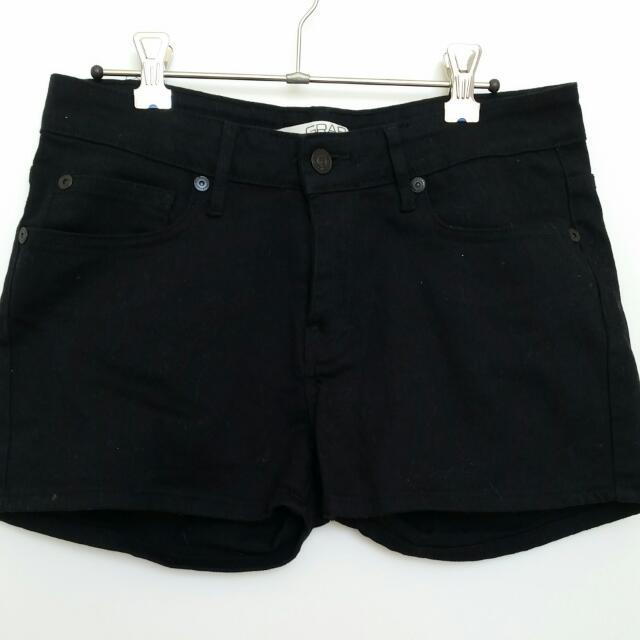 Grab Black Denim Shorts