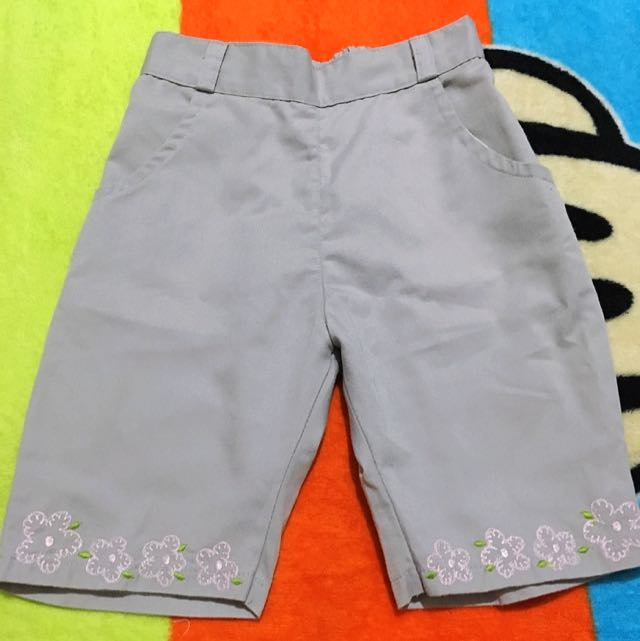 Gray Garterized Shorts for Babies
