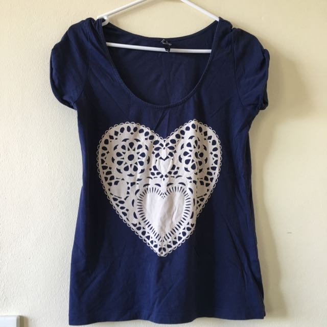 Jeanswest Love Heart Navy Top