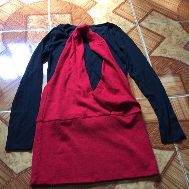 Knitted Long Sleeve Halter Dress