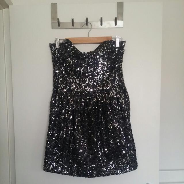 Ladies BARDOT black sequin Dress