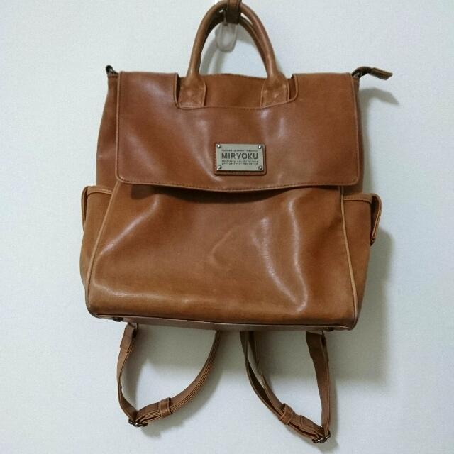 [降價](含運)MIRYOKU經典復古皮革後背包