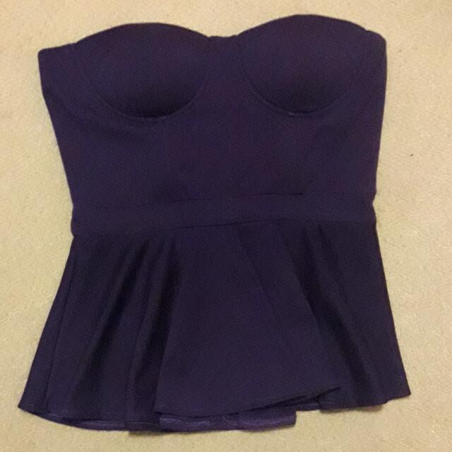 Misguided Strapless Peplum Top 14 (Purple)