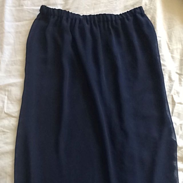 Navy Chiffon Sheer Maxi Skirt Size Small