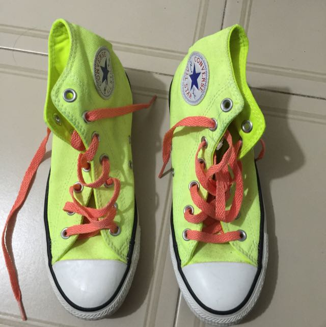 17756371079d02 Neon Converse Shoes Size 7.5