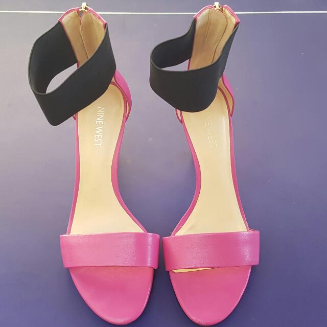 Nine West Pink Stilletos With Elastic Ankle Traps