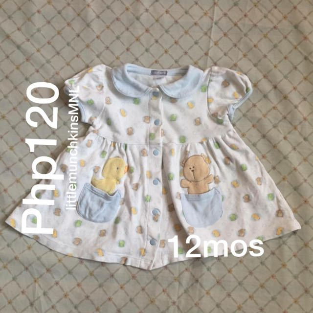 Preloved Carter's Dress 12 Months Baby Girl Clothes Duck & Bear