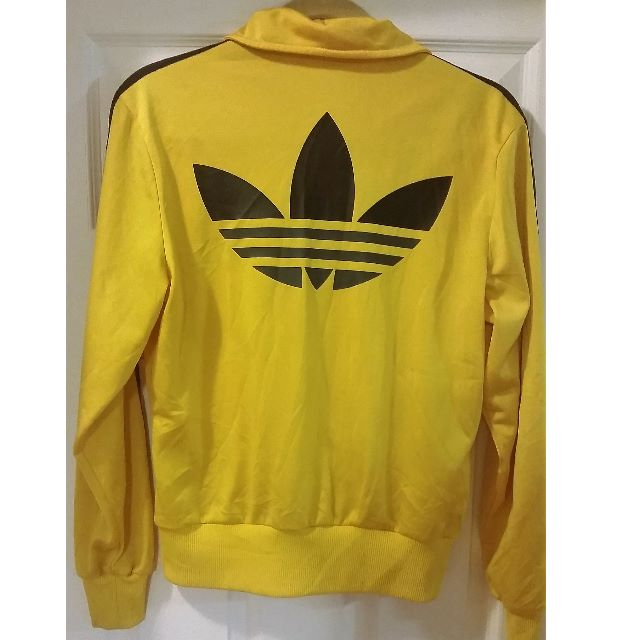Retro Vintage ADIDAS Track Jacket Yellow & Grey Size M