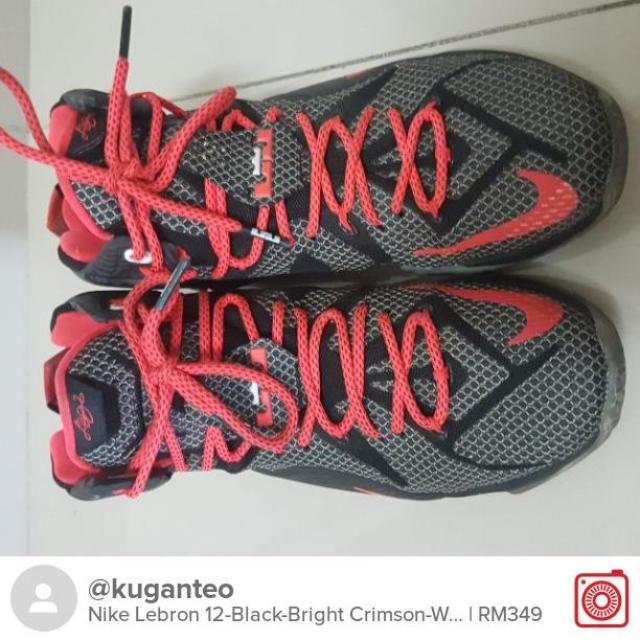 a137b493348 Selling Nike Lebron 12-Black-Bright Crimson-White