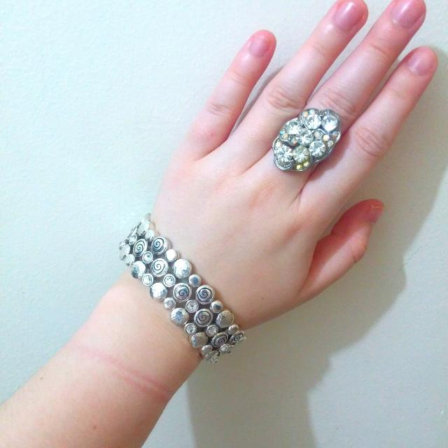 Silver Colored Bracelet And Ring With Crystal Gem Stones