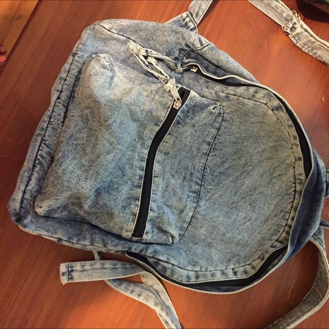 Slouchy Denim Backpack