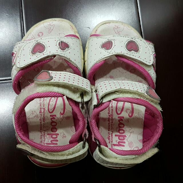 Snoopy Pink White Rubbee Sandals Baby Girl Size 20