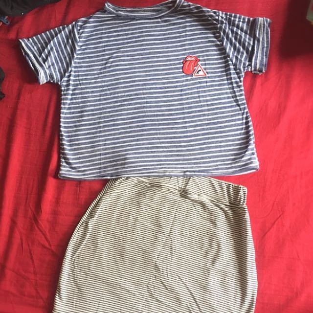 Striped Patches shirt And Skirt