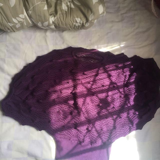 Sweater Rajut Ungu Wool