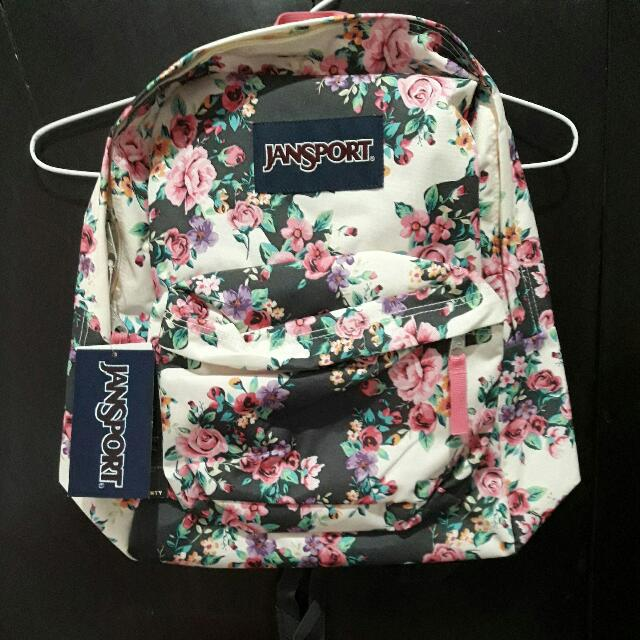 Tas Backpack Jansport Women Super Break Multi Grey Floral Flourish