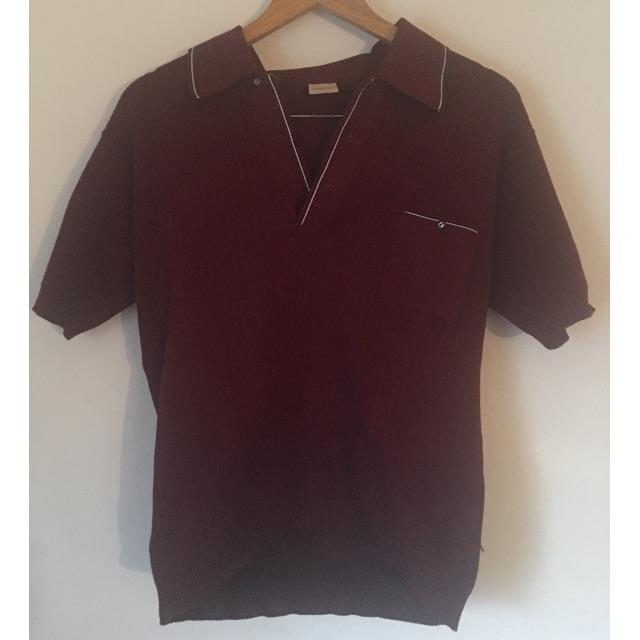 Trevor brand red mens vintage polo short size med/large