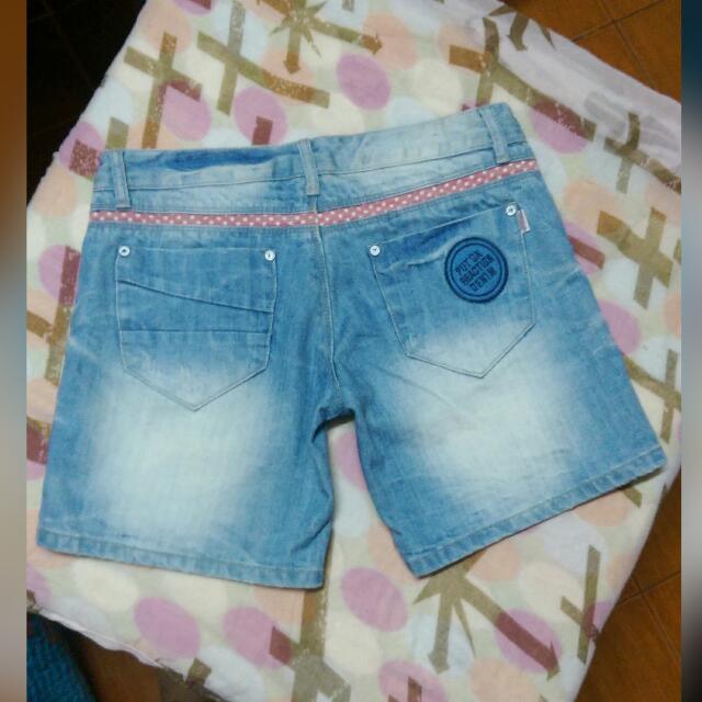 Washed Denim Shorts