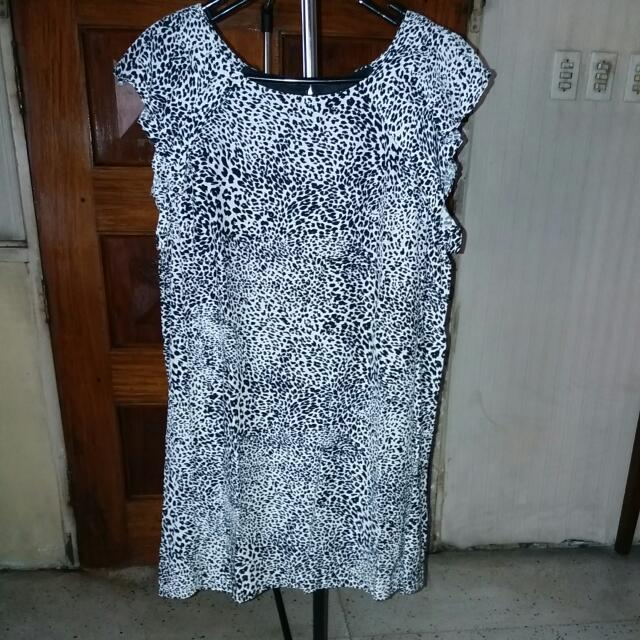 Zara Black & White Leopard Print Dress