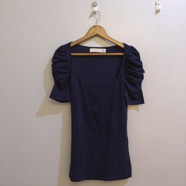 ZARA Navy Blue Fitted Top