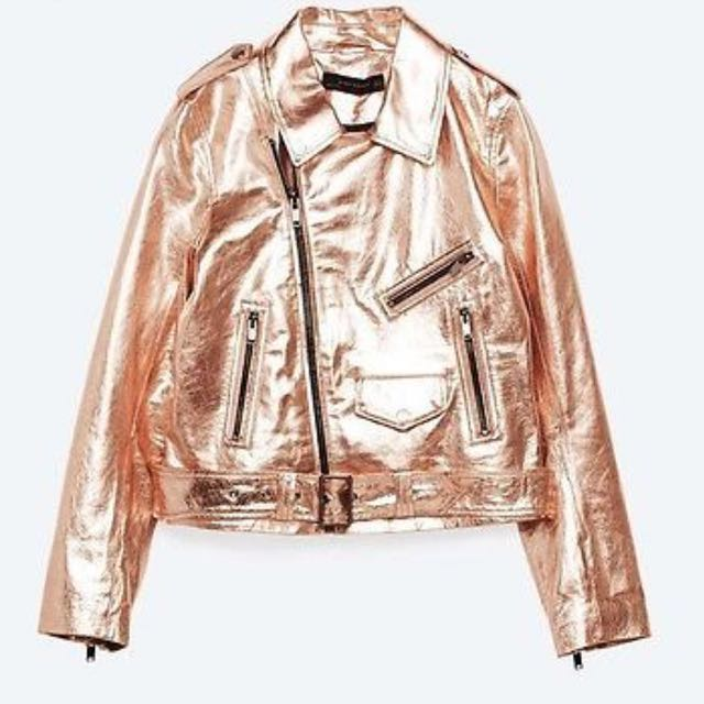 110ba3f8 Zara Rose Gold Biker Real Leather Jacket 玫瑰金真皮褸。。。toga Ance Ted Baker  Vivian #runway17, Luxury, Apparel on Carousell
