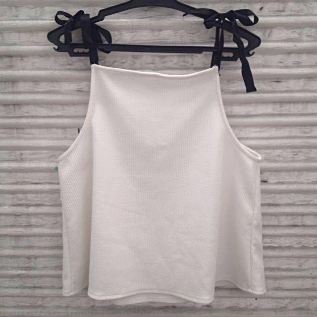 Zara Tie Straps Metallic White Top
