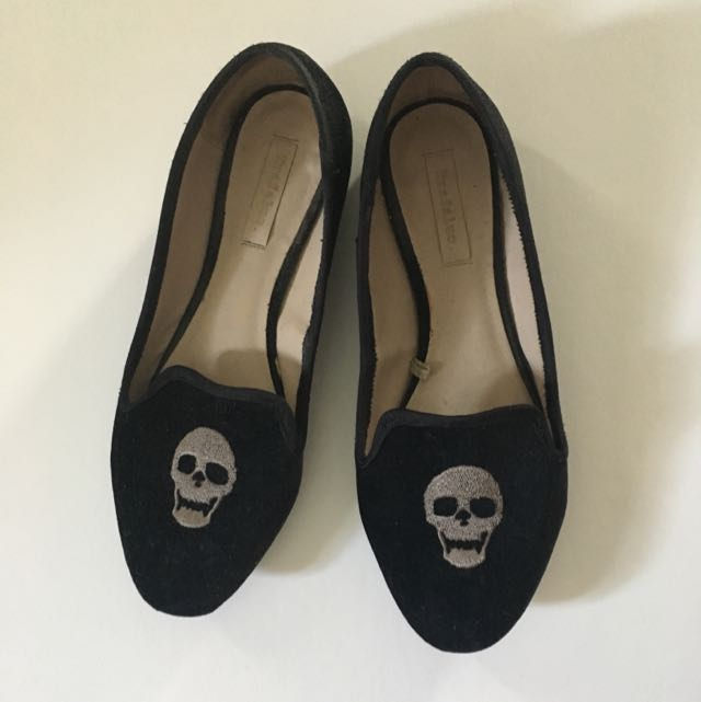 Zara Trafaluc Embroidered Skull Shoes