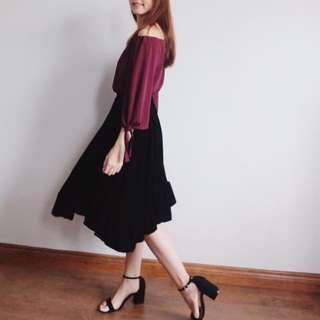Velvet Flare Hem Midi Skirt
