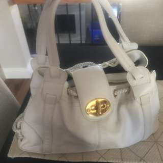 White Leather Mulberry Inspired Bag, Worn Few Times. Few Small Scuffs But Not Noticeable. Zippers In Working Condition.