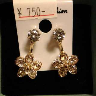 韓國抗敏鑲鑽耳環