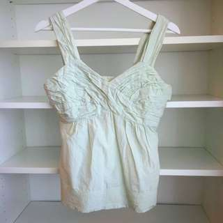 Anthropologie Mint Ruched Sweetheart Top