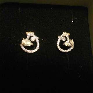 韓國純銀小雞鑲鑽耳環