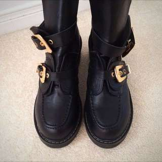 Faux Leather Cut Out Combat Punk Boots With Gold Buckles