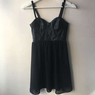 Pleather Topped Cocktail Dress